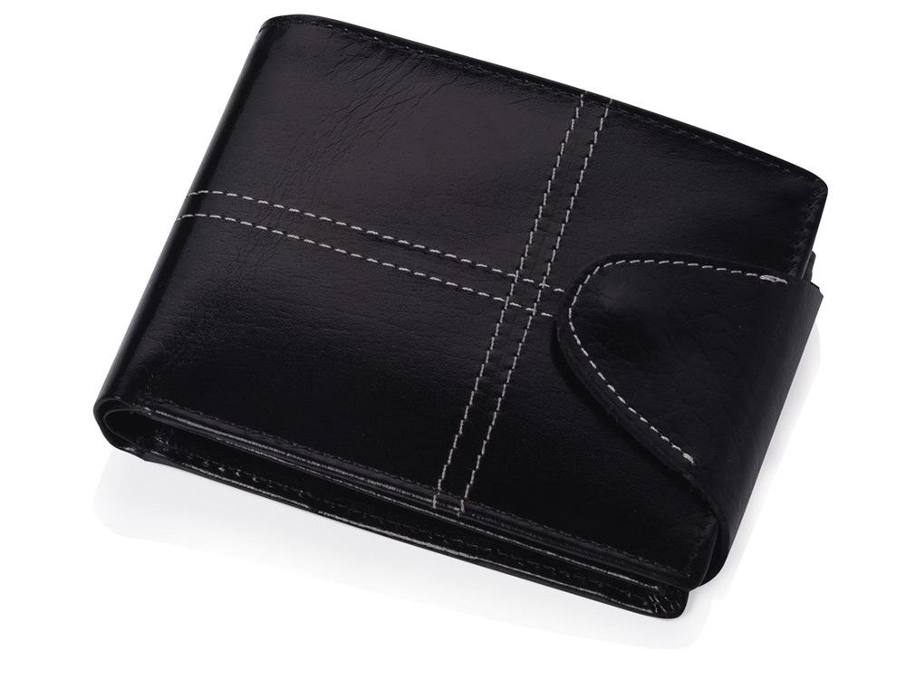 Портмоне с отделениями для кредитных карт, монет и документов, черный
