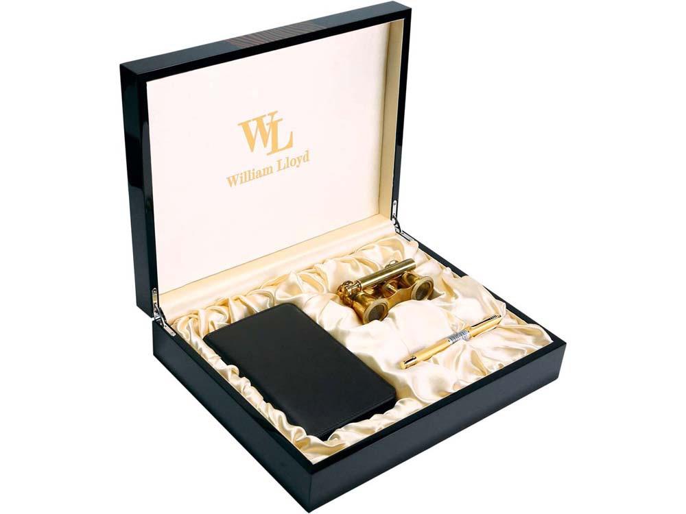 Набор William Lloyd : лорнет, ручка роллер, трэвел-портмоне на молнии