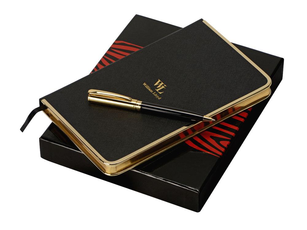 Набор: записная книжка, ручка William Lloyd , черный/золотистый