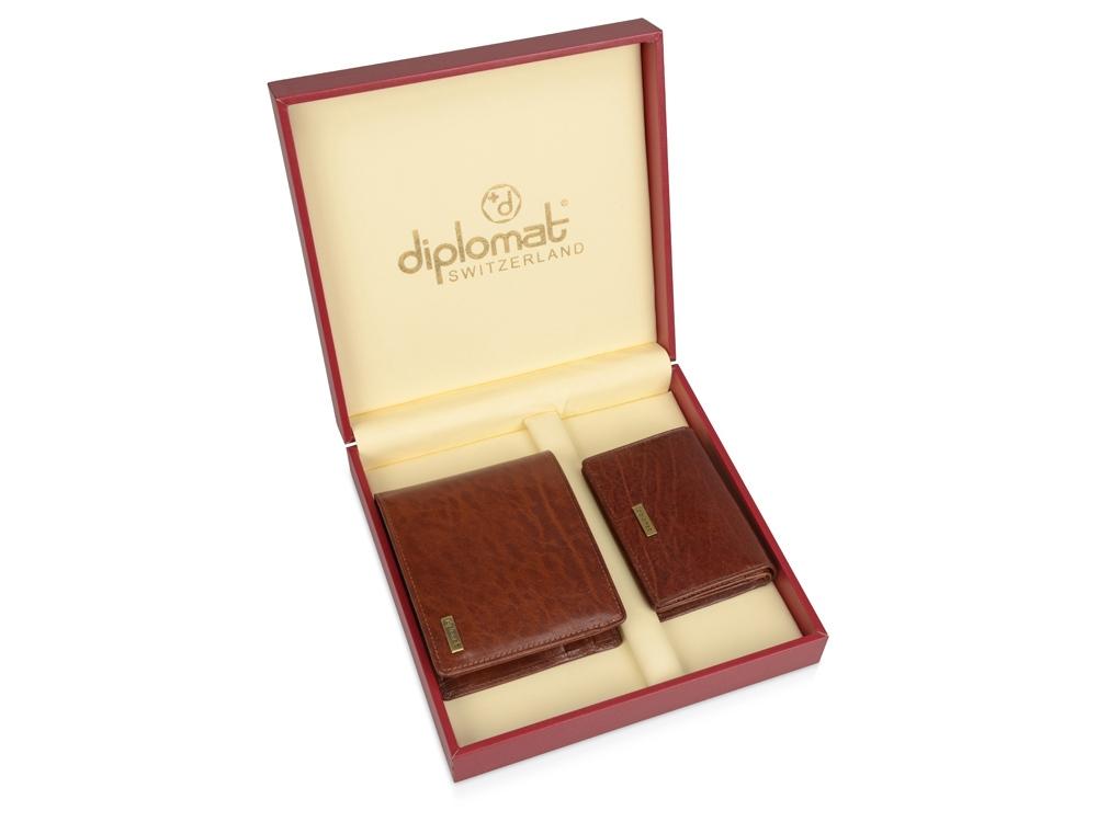 Набор Diplomat: мужское портмоне, визитница, коричневый