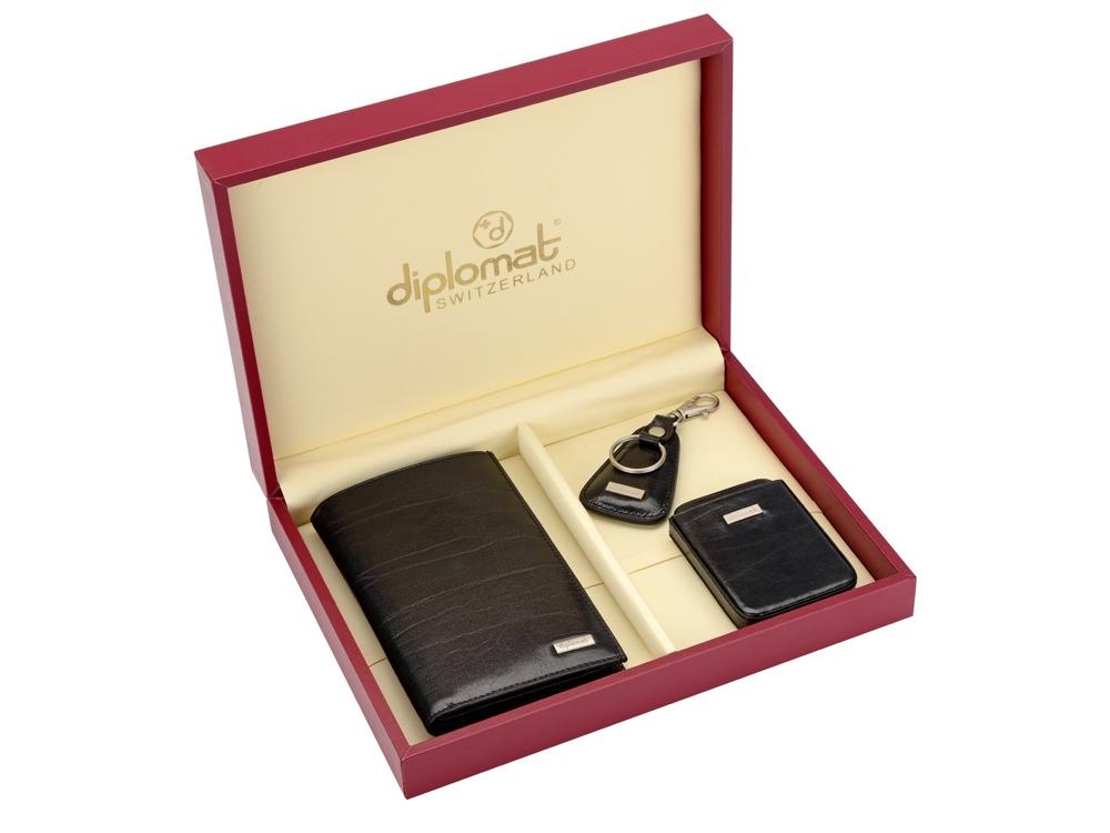 Набор Diplomat: мужское портмоне, визитница, брелок
