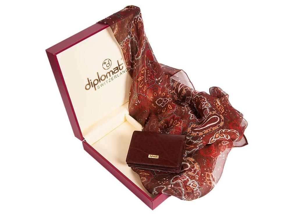 Набор Diplomat: платок, визитница, коричневый