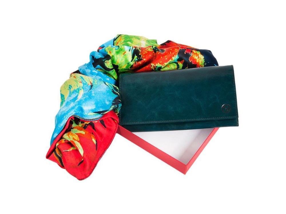 Набор Diplomat: платок, женский кошелёк, коричневый