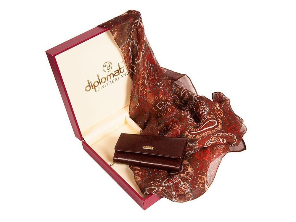 Набор Diplomat: платок, ключница, коричневый