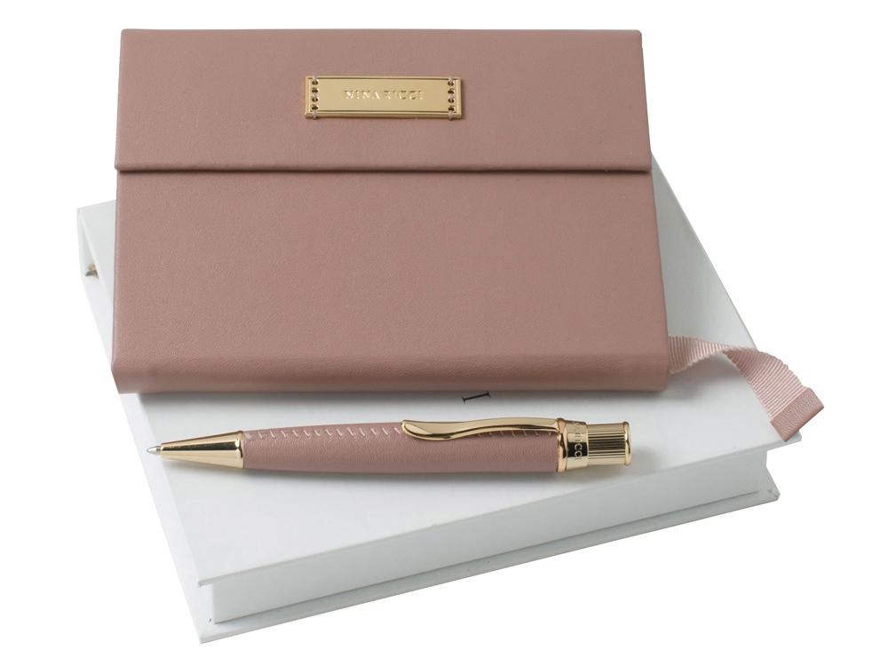 Набор: дизайнерский блокнот А6, ручка шариковая, пудровый/золотистый