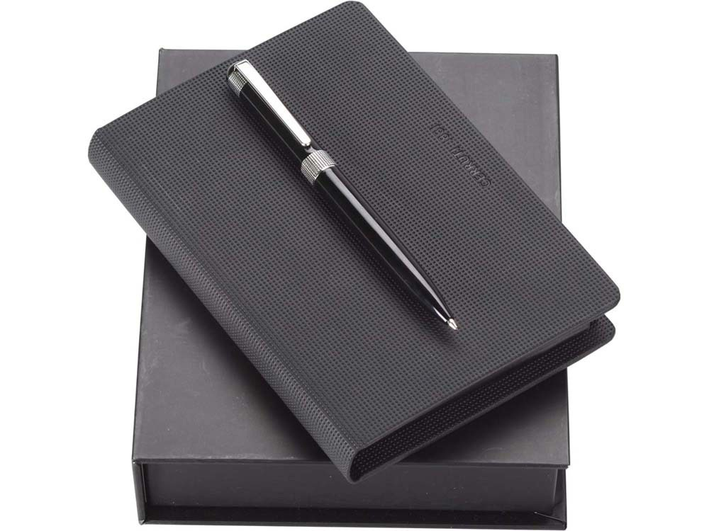 Набор Cerruti 1881: дизайнерский блокнот, шариковая ручка, черный/серебристый