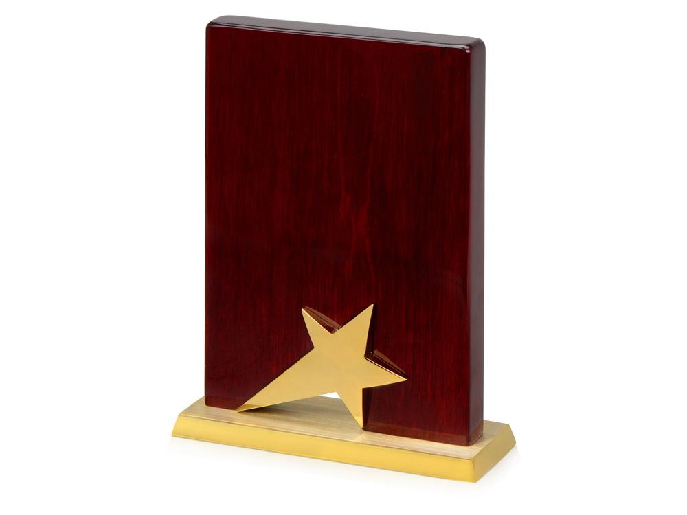 Награда Galaxy с золотой звездой, дерево, металл, в подарочной упаковке
