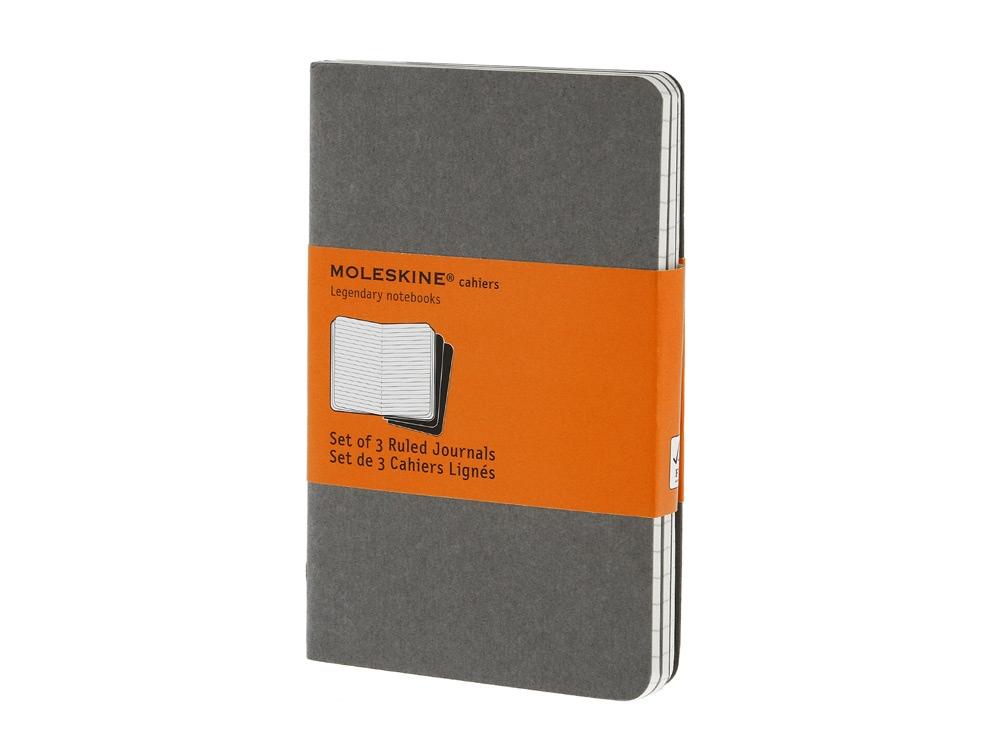 Записная книжка Moleskine Cahier (в линейку, 3 шт.), Pocket (9х14см), серый