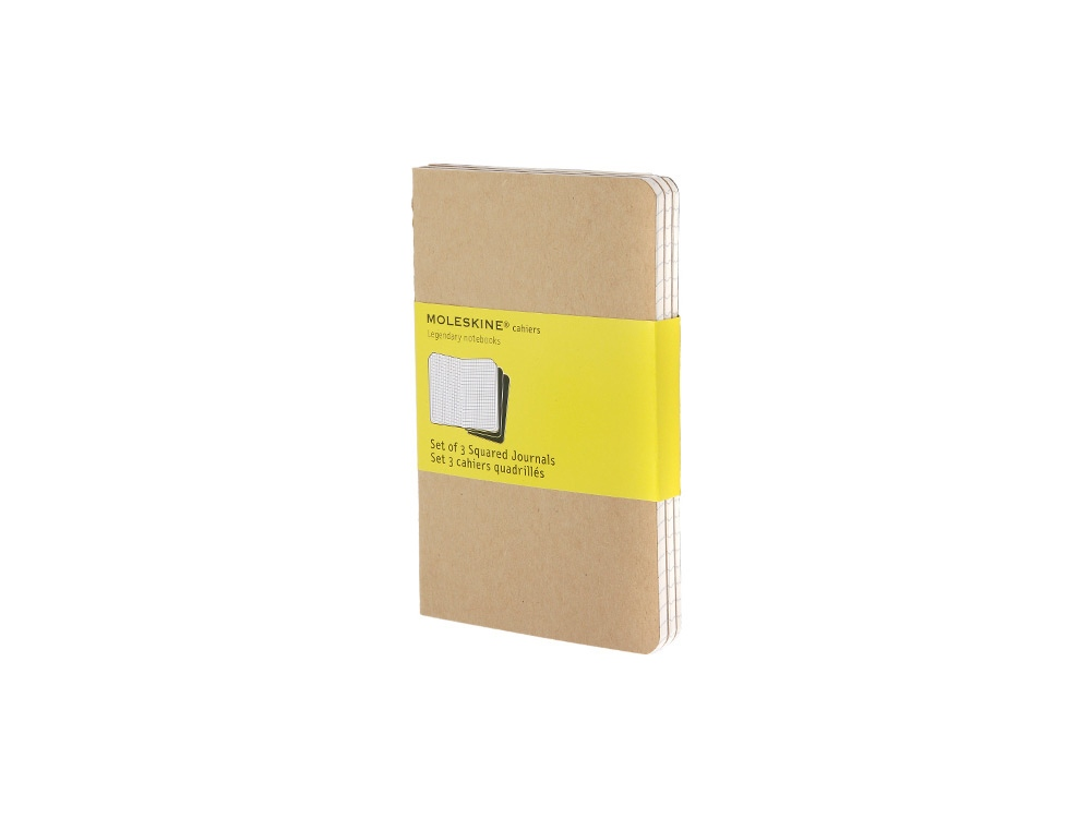 Записная книжка Moleskine Cahier (в клетку, 3 шт.), Pocket (9х14см), бежевый