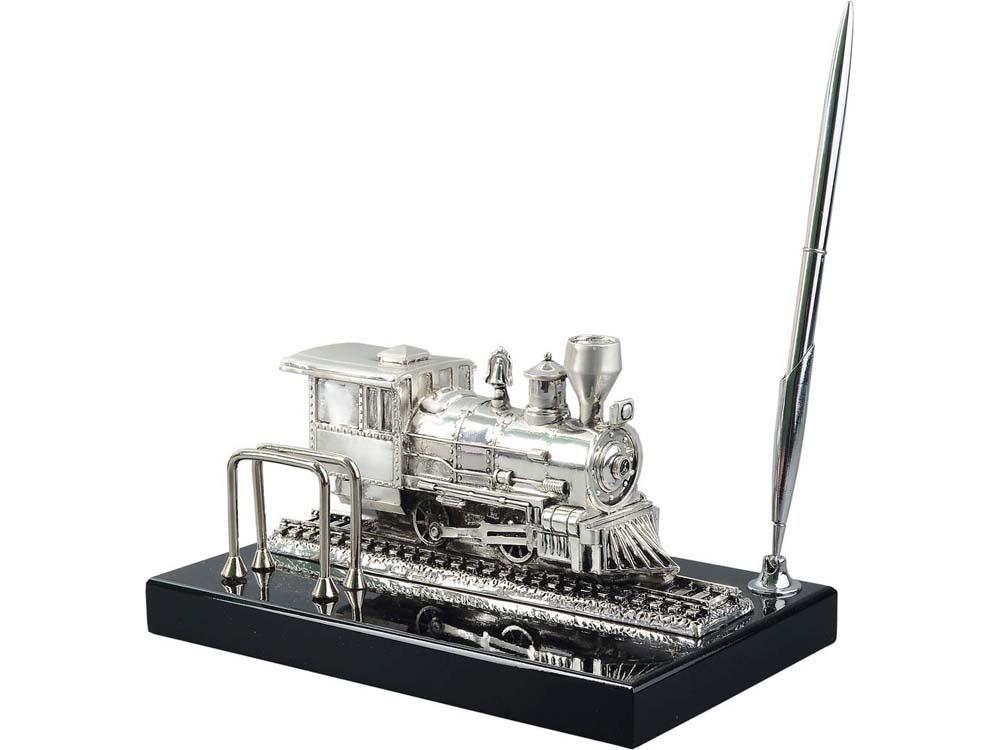Настольный прибор «Железнодорожный», серебристый/черный