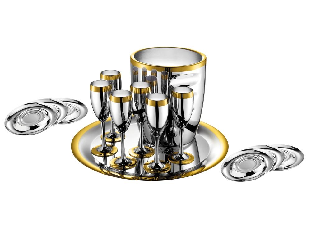 Набор для шампанского «Ла Перле» на 6 персон стальной с золотым декором. ZEPTER