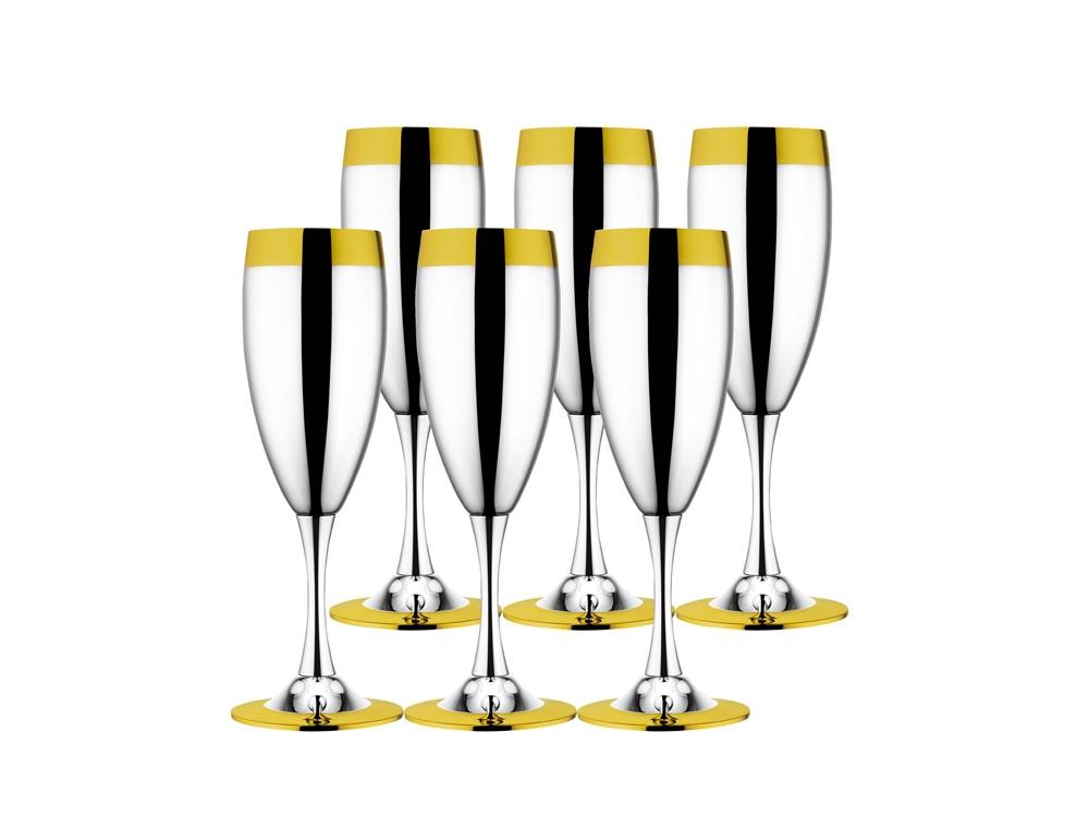 Набор бокалов для шампанского «Ла Перле» с золотым декором, 6 шт.. ZEPTER