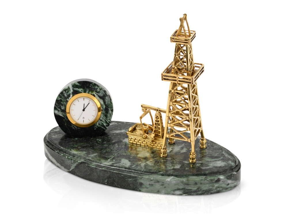 Настольный прибор «Нефтяная симфония», зеленый/золотистый