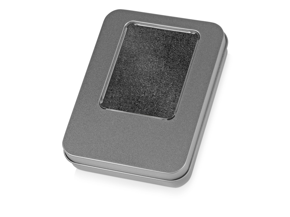 Подарочная коробка для флеш-карт «Сиам» в шубере, серебристый