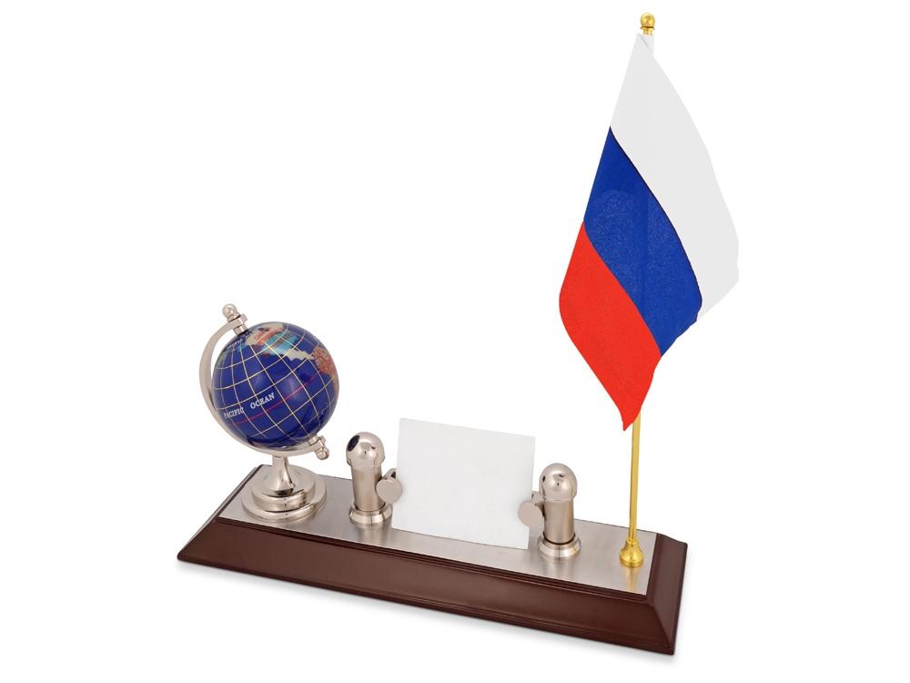 Настольный прибор Куранты: подставка под визитки, глобус, флаг России. Флаг другой страны или белый флаг с логотипом может быть изготовлен по желанию клиента