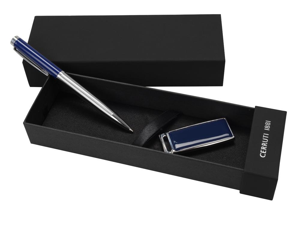Набор Cerruti 1881: ручка шариковая, флеш-карта USB 2.0 на 8 Гб Zoom Blue