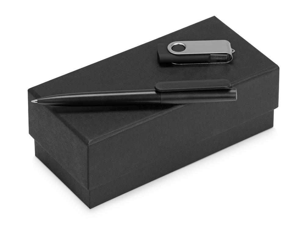 Подарочный набор Qumbo с ручкой и флешкой, черный