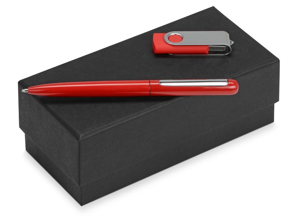 Подарочный набор Skate Mirro с ручкой для зеркальной гравировки и флешкой, красный