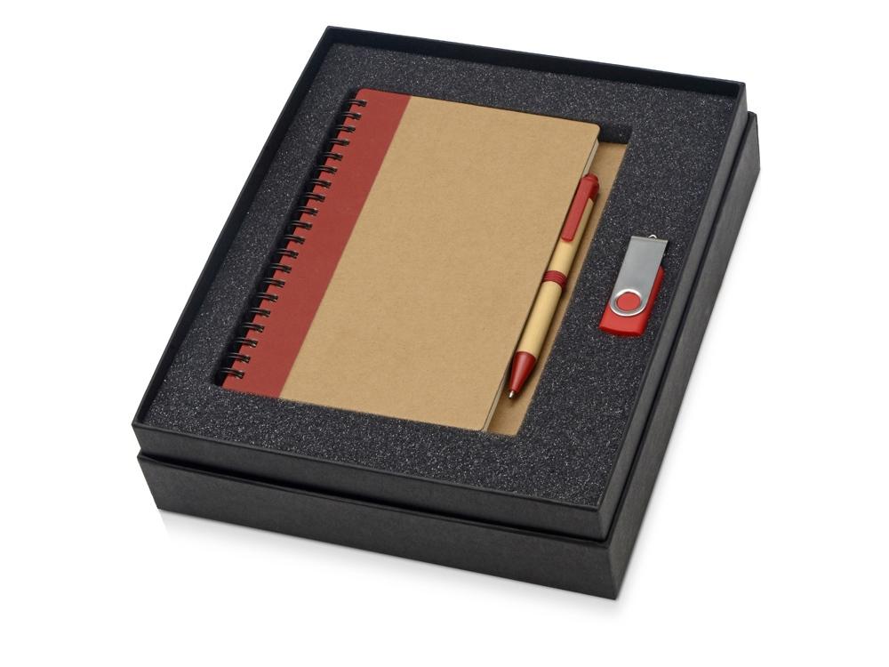 Подарочный набор Essentials с флешкой и блокнотом А5 с ручкой, красный