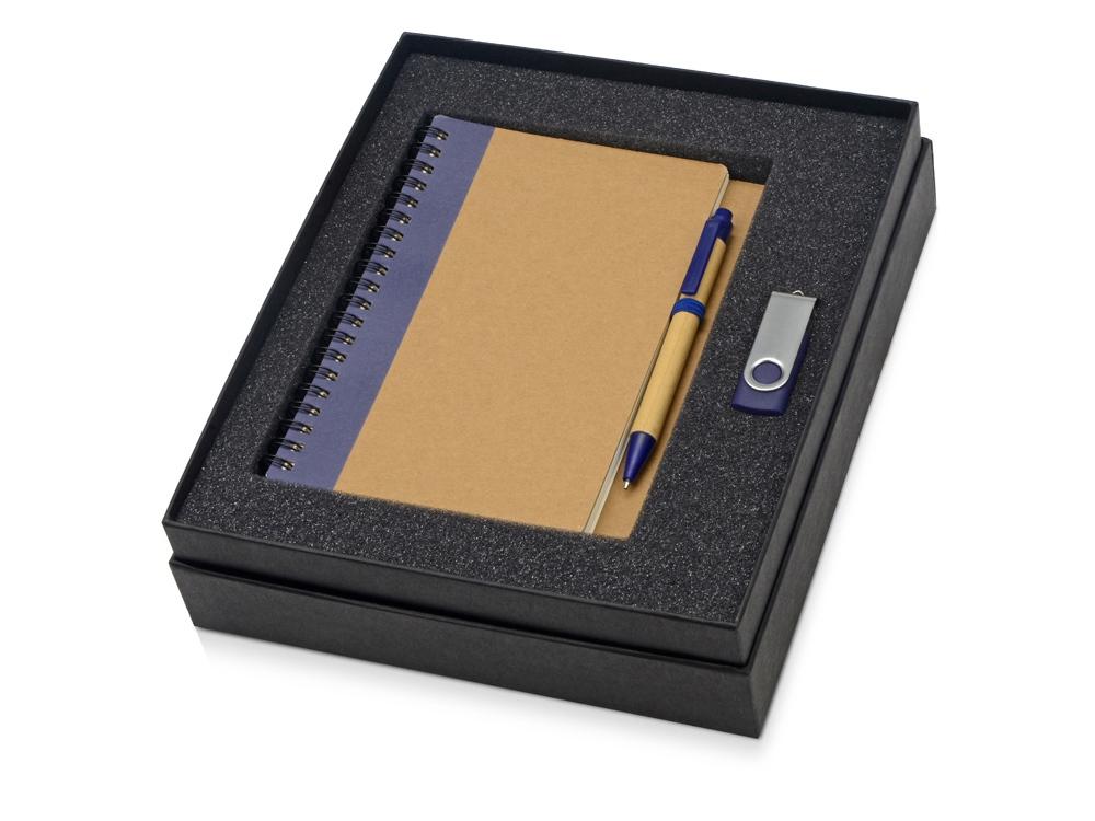 Подарочный набор Essentials с флешкой и блокнотом А5 с ручкой, синий