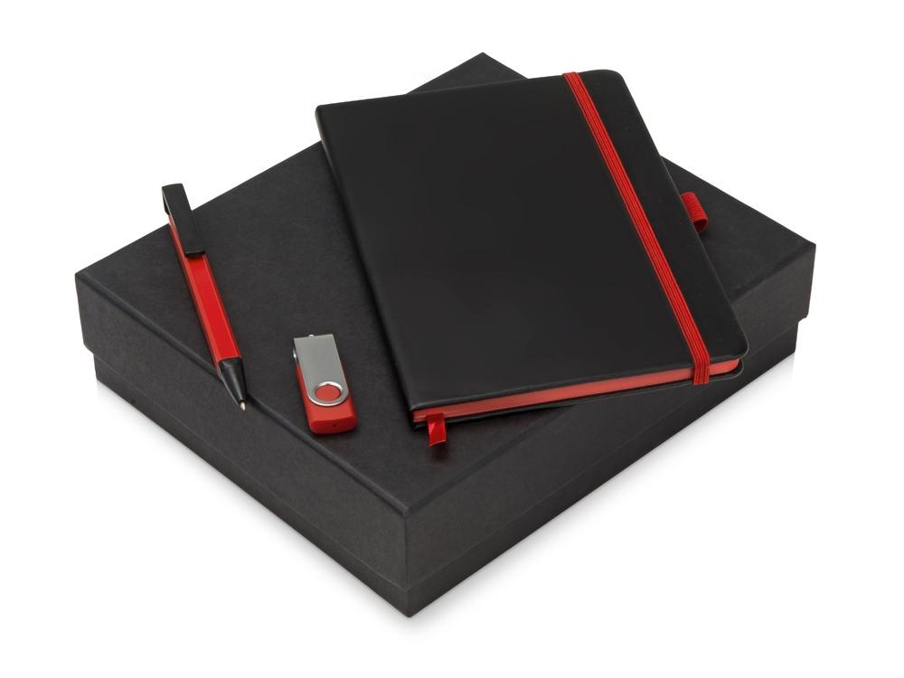 Подарочный набор Q-edge с флешкой, ручкой-подставкой и блокнотом А5, красный
