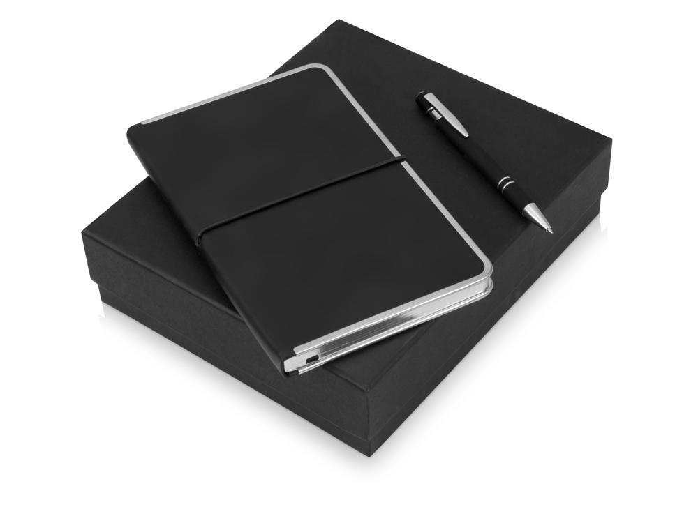 Подарочный набор Silver Sway с ручкой и блокнотом А5, черный