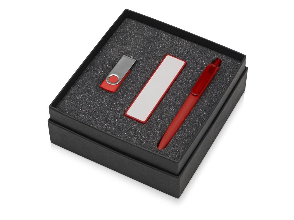Подарочный набор Space Pro с флешкой, ручкой и зарядным устройством, красный