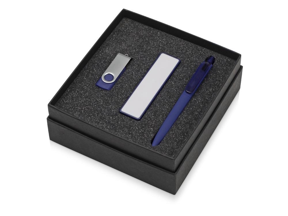 Подарочный набор Space Pro с флешкой, ручкой и зарядным устройством, синий