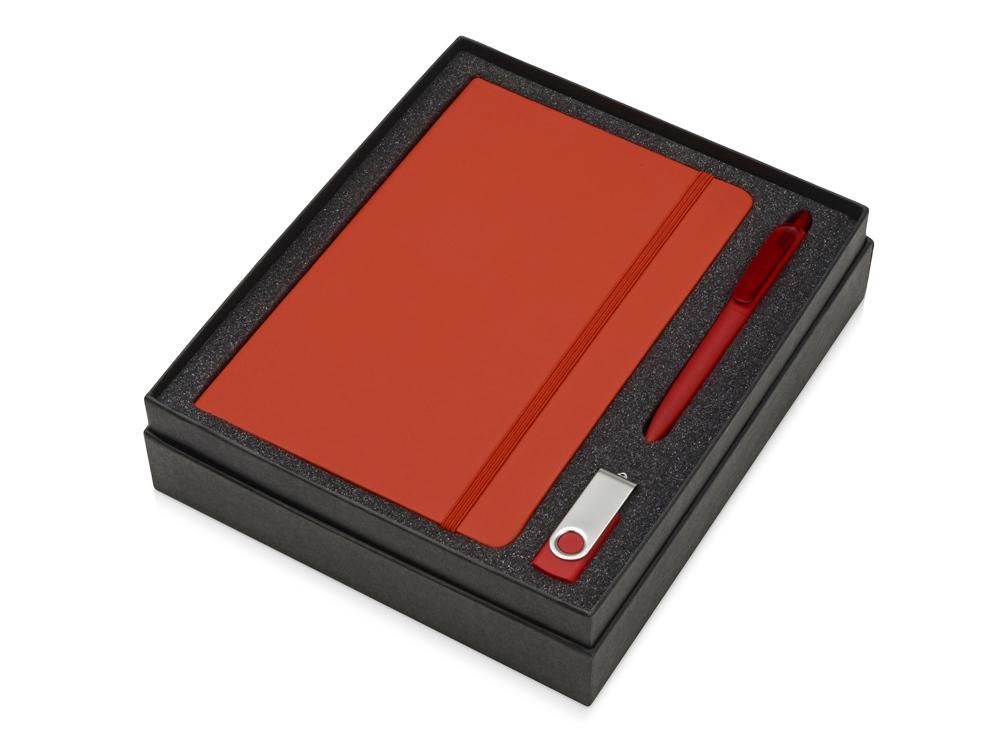 Подарочный набор Vision Pro Plus soft-touch с флешкой, ручкой и блокнотом А5, красный