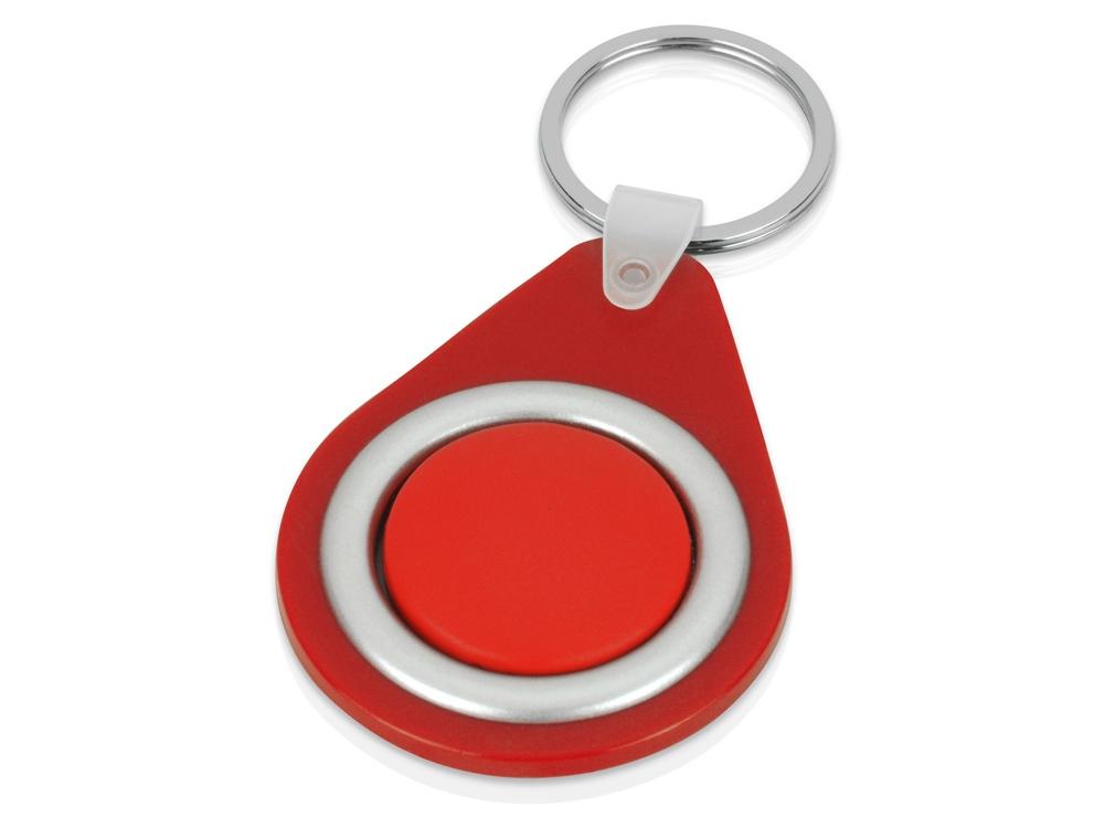 Брелок с вращающимся элементом, красный/серебристый
