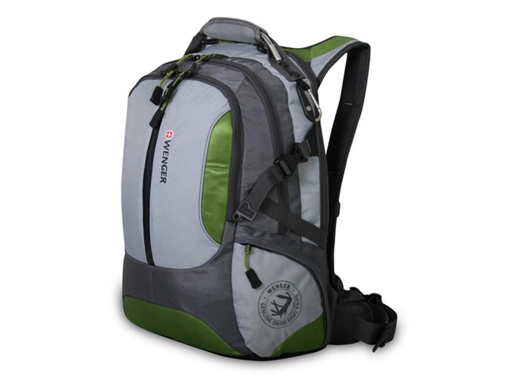 Рюкзак 30л с отделением для ноутбука 15''. Wenger, серый/зеленый
