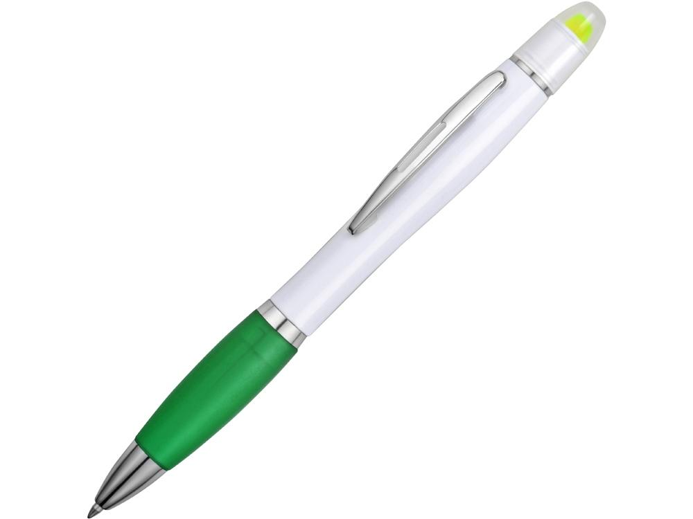 Ручка шариковая с восковым маркером белая/зеленая