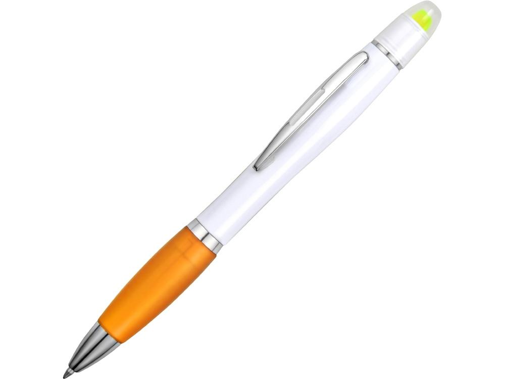 Ручка шариковая с восковым маркером белая/оранжевая