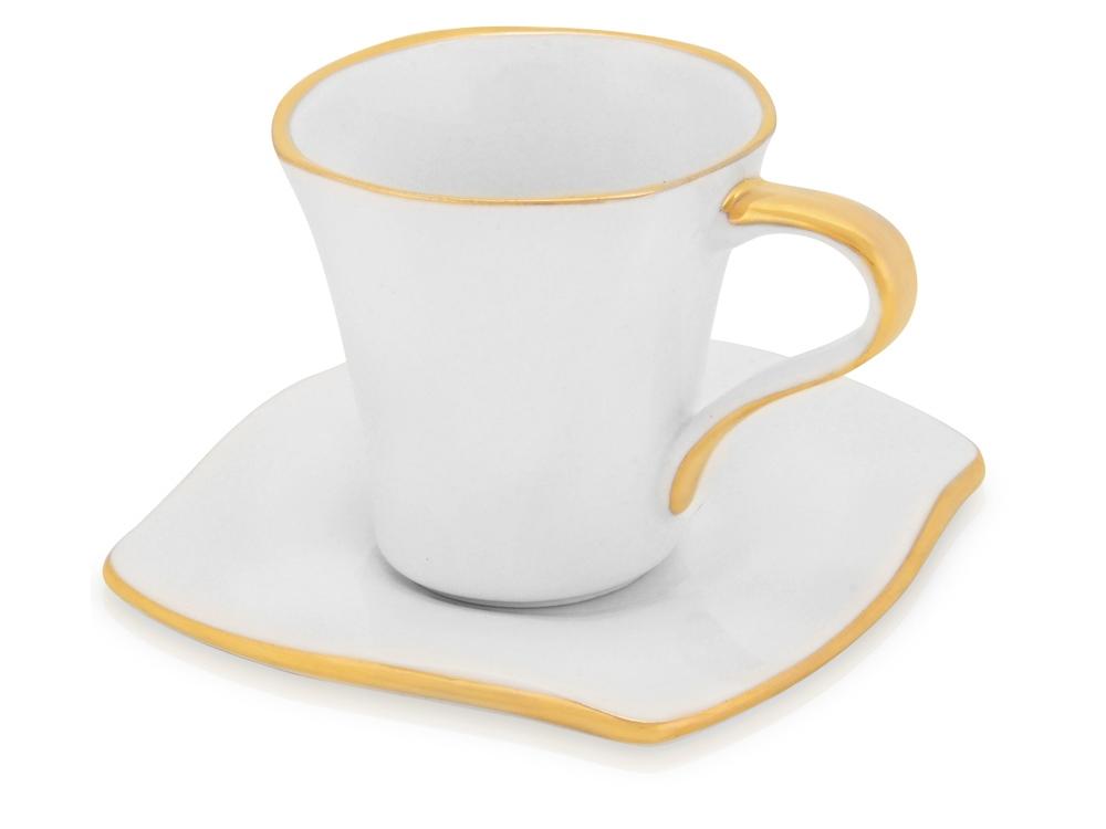 Чайная пара: чашка на 100 мл с блюдцем с золотой каймой