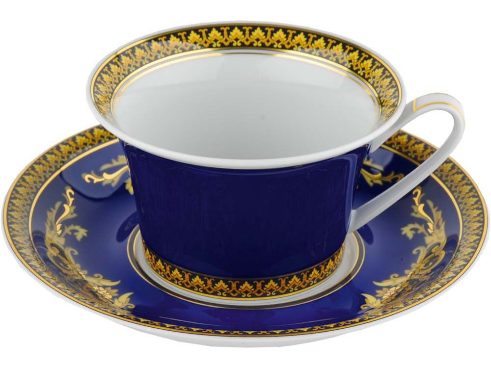 Чайная пара Versace «Medusa», синий/золотистый