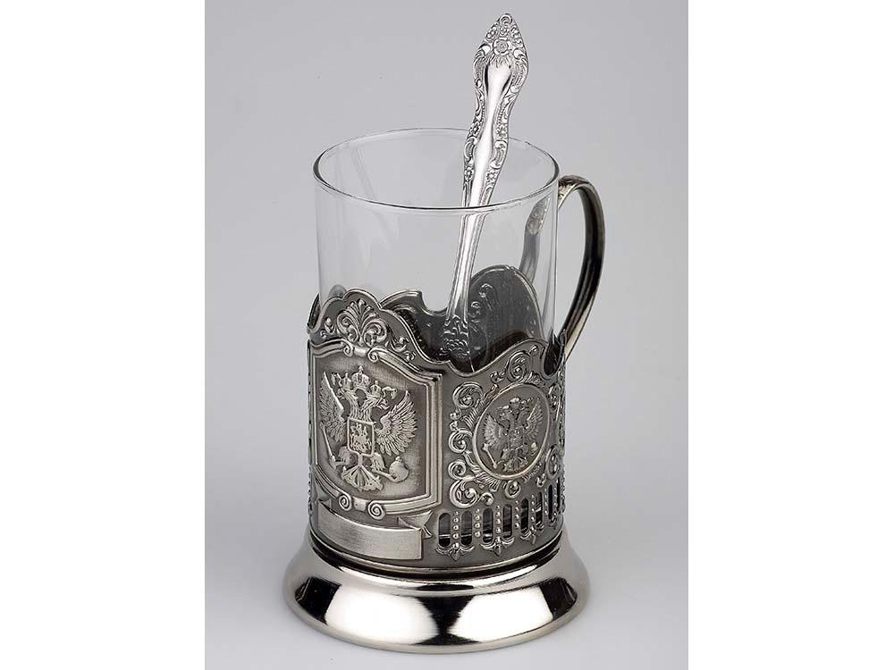 Набор: стакан с подстаканником и ложкой «Герб России», серебристый
