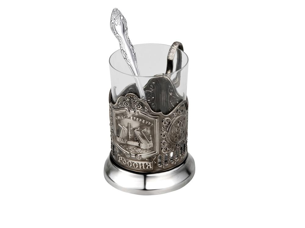 Набор «Санкт-Петербург»: стакан с подстаканником и ложкой, серебристый