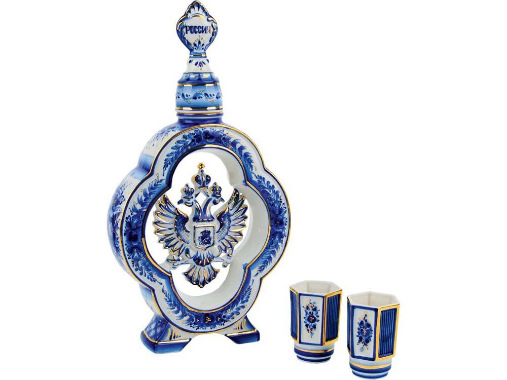 Набор: штоф для водки с двумя стопками Герб России, белый/синий