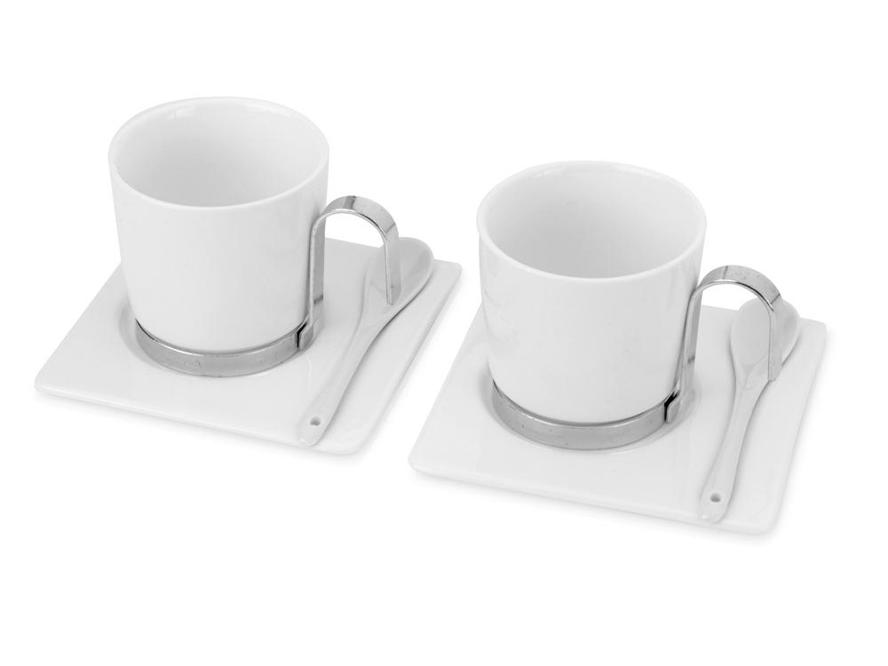 Набор: 2 чашки на 200 мл с подставками и металлическими ложками