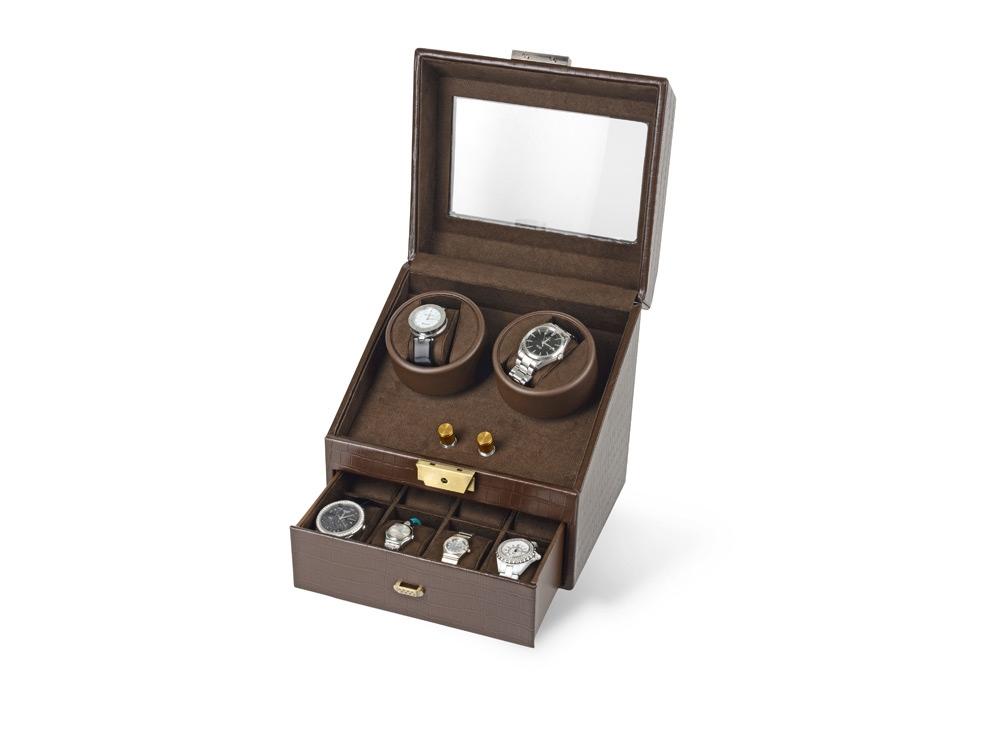 Шкатулка кожаная для часов с автоподзаводом Респект, коричневый