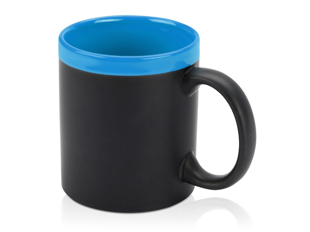 Кружка с покрытием для рисования мелом Да Винчи, черный/голубой