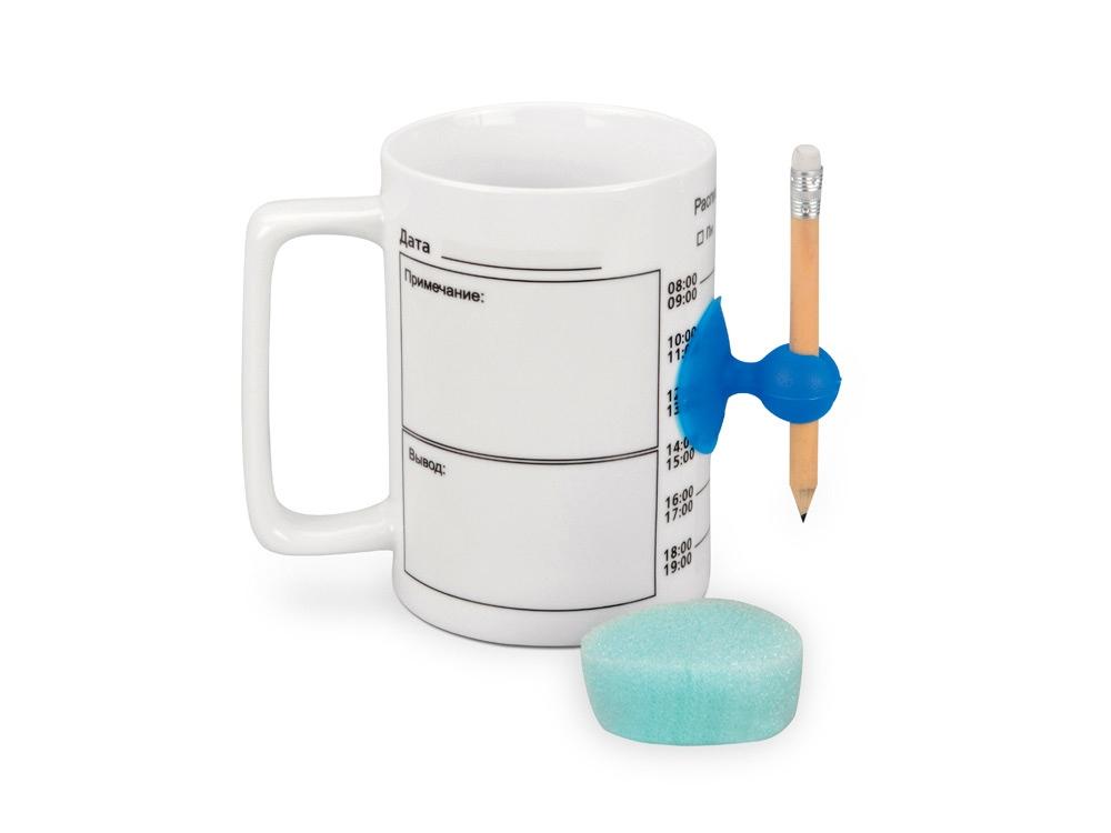 Кружка «Тайм-менеджмент» с расписанием на день на 400 мл (карандаш на присоске и спонж для очистки в комплекте)