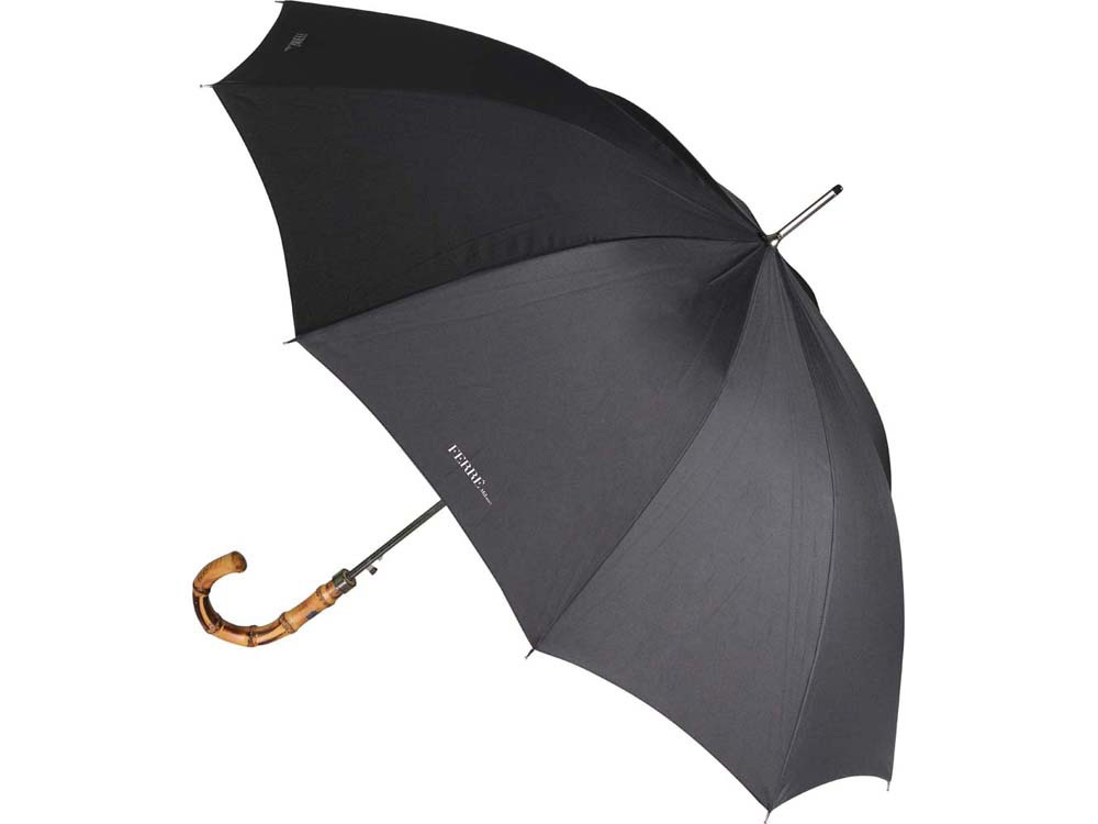 Зонт-трость Ferre, полуавтомат, черный/коричневый