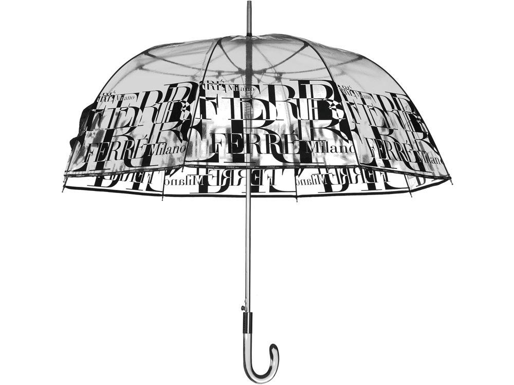 Зонт-трость Ferre, полуавтомат прозрачный/черный