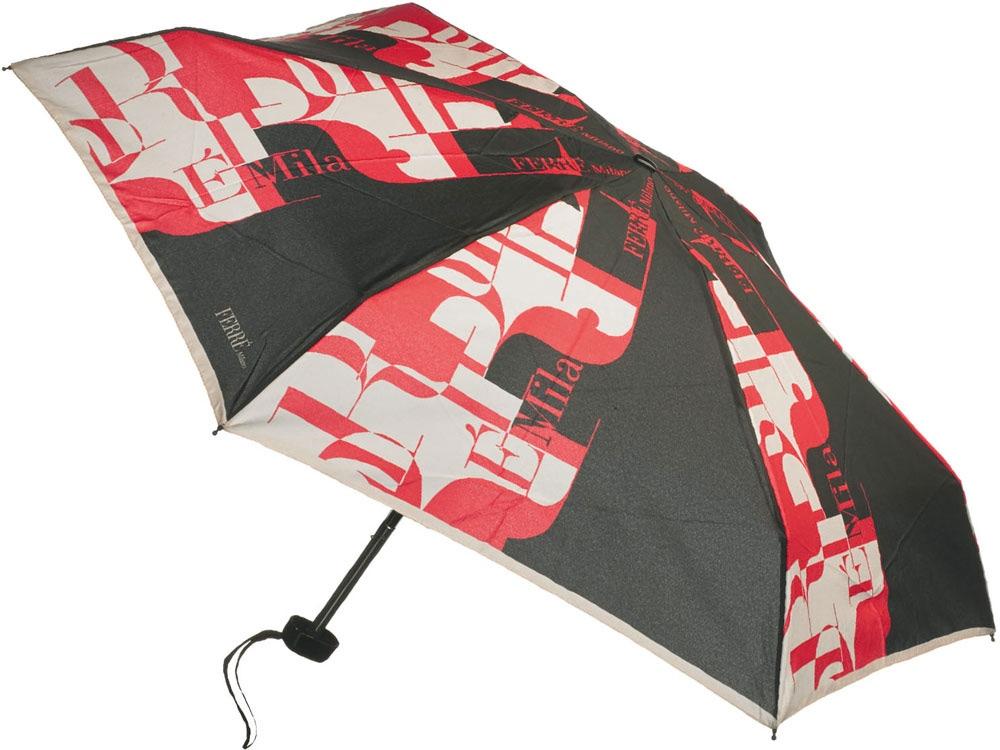 Зонт складной Ferre, механика черный/красный