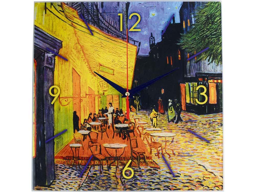 Часы настенные «Ван Гог. Терраса кафе ночью», синий/желтый
