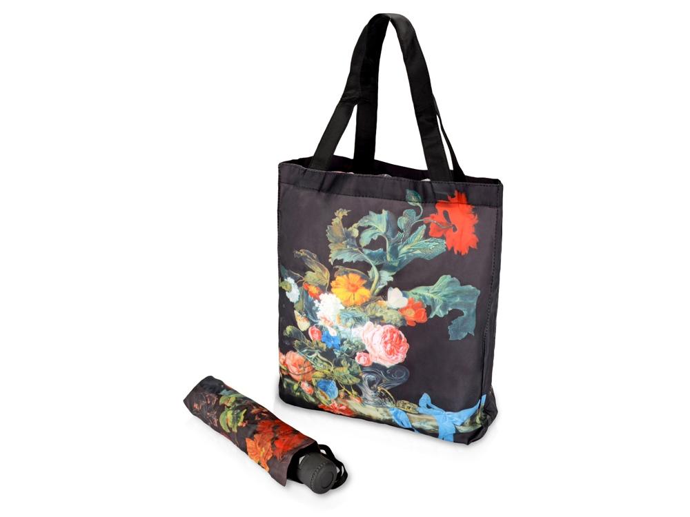 Набор Цветы: зонт складной полуавтоматический и сумка для шопинга