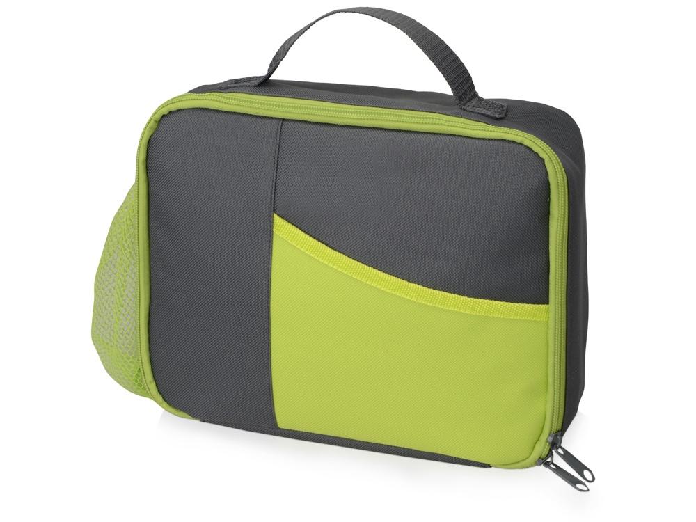 Изотермическая сумка-холодильник Breeze для ланч бокса, серый/зел яблоко