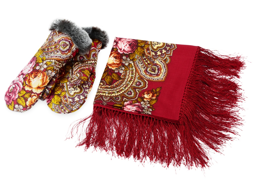 Набор: Павлопосадский платок, рукавицы, красный/разноцветный