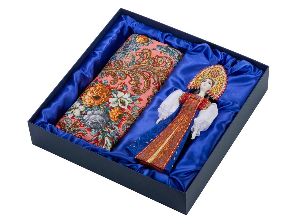 Набор: кукла в народном костюме, платок «Марфа», красный/синий